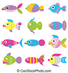 cute cartoon fish collection on white background