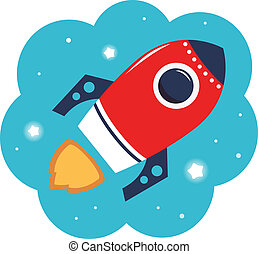 Spaceship or Rocket in cloud. Vector Illustration