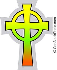 Colorful Catholic Celtic Cross vector illustration on a white background