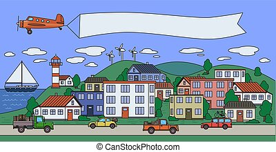 Colorful city image with houses, cars, plane and boat in the sea. Copyspace on a plane banner. Flat vector illustration. Cartoon style. Horizontal.