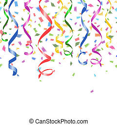 Colorful falling paper confetti and twirled party streamers on a white background with copyspace in a greeting card and party invitation template design for New Year Christmas wedding or birthday