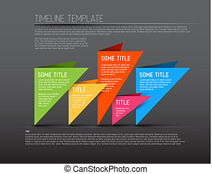 Colorful dark Vector Infographic timeline report template with triangles
