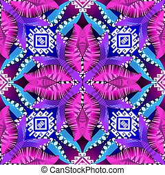 Colorful ethnic tribal seamless pattern. Vector ornamental glowing floral background. Repeat decorative backdrop. Geometric modern ornament. Greek key meander. Abstract shapes, flowers, forms, figures