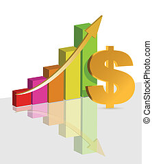 Colorful Graph With a dollar symbol