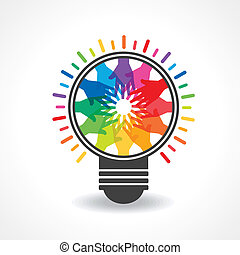 colorful hands make a light -bulb