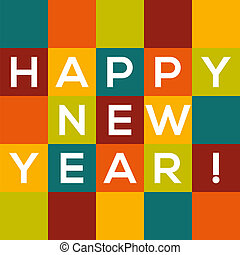 Colorful Happy New Year card - text in colorful squares