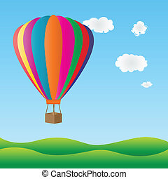 Hot air balloon flying over green hills