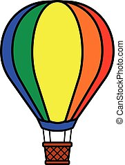 Single colorful red, orange, yellow, green and blue hot air balloon icon or avatar over isolated white background