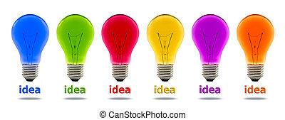 colorful idea light bulb isolated