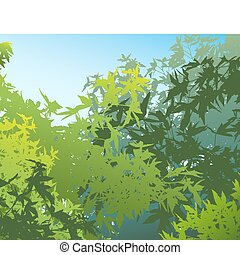 Colorful landscape of summer foliage - Vector illustration. The different graphics are on separate layers so they can easily be moved or edited individually