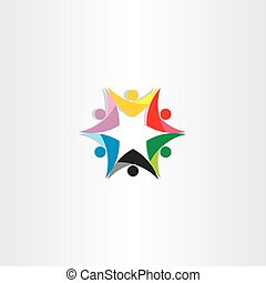 colorful people teamwork star icon