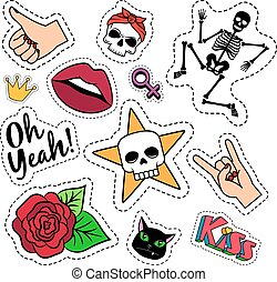 Colorful quirky funny patches