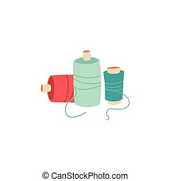 Colorful sewing thread spools isolated on white background.