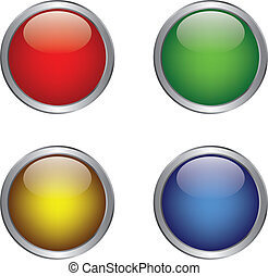Colorful shiny button in metallic frame