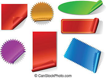 Colorful sticker set isolated on white.