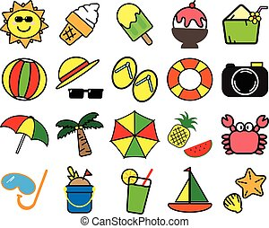 Colorful variety summer items icon symbol on white background