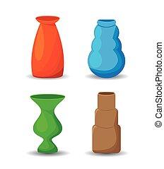 Colorful vases set