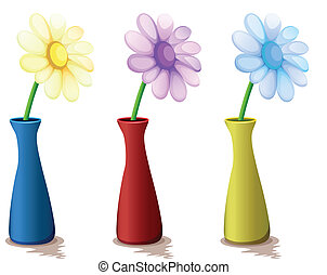 Colorful vases with flowers