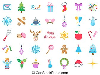 Colorful vector christmas icons big collection