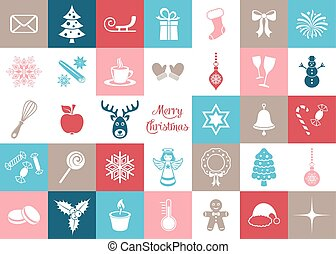 Colorful vector christmas silhouette icons