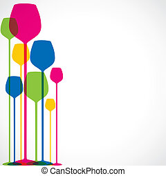 colorful wine glass stock background stock vector