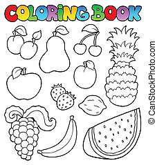 Coloring book with fruits images - vector illustration.