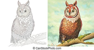 Coloring page and watercolor print with owl