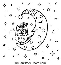 Coloring page for kids with a cute sleeping moon and owl. Good night black and white fantasy background