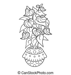 Coloring page with anthurium