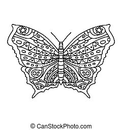 Coloring page with beautiful butterfly for adults and older children. A butterfly in anistress lengths. Coloring, contour drawing, line art. Coloring book series with insects for printing in a coloring book.