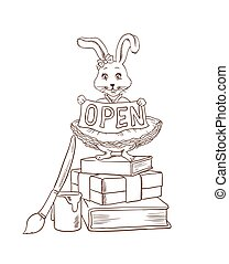 Coloring page with bunny or cute rabbit standing with ribbon with place for short inscription like 'hello', 'sign in', 'open', 'closed', etc.