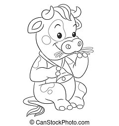 Coloring page with cow