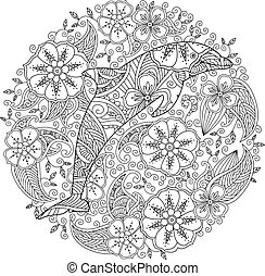 Coloring page with dolphin in floral circle