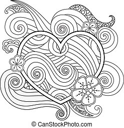 Coloring page with heart and abstract element isolated. Happy Valentines Day Graphic for print, card.