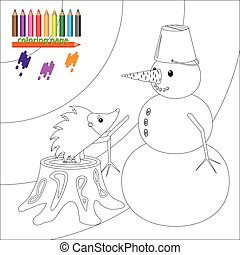 Coloring page with hedgehog and snowman
