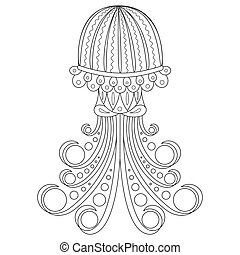 Coloring page with jellyfish