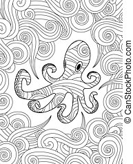 Coloring page with ornate octopus in waves. Vertical composition.