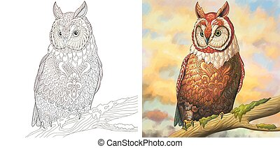 Coloring page with owl bird