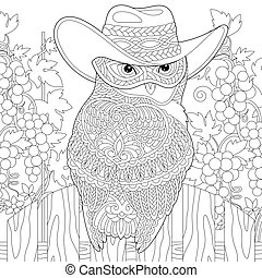 coloring page with owl