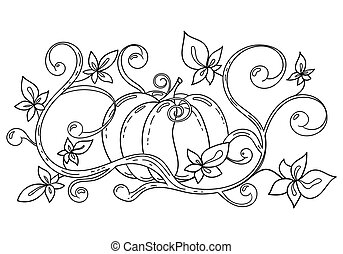 Coloring page with pumpkin