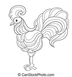 Coloring page with rooster