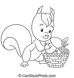 Coloring page with squirrel