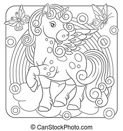 Coloring page with unicorn