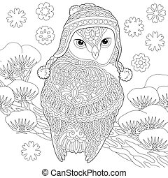 coloring page with winter owl