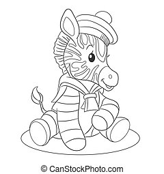 Coloring page with zebra