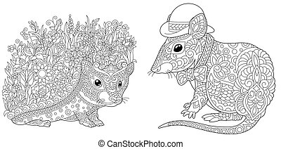 Coloring pages with hedgehog and mouse