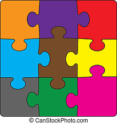 Colour puzzles on a white background. vector