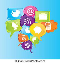 Communication icons over blue background vector illustration