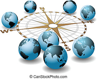 Worldwide compass points at worlds earth global directions