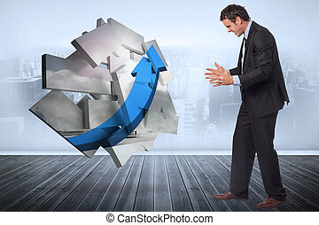 Composite image of stressed businessman gesturing